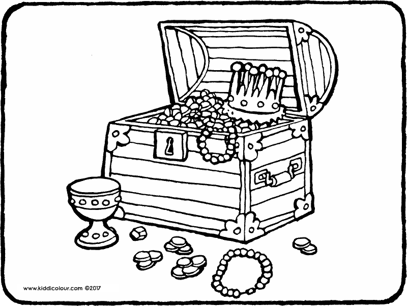 treasure chest colouring page drawing picture 01k