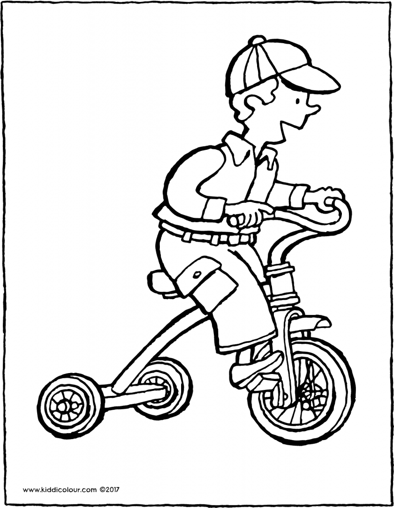 tricycle colouring page drawing picture 01V