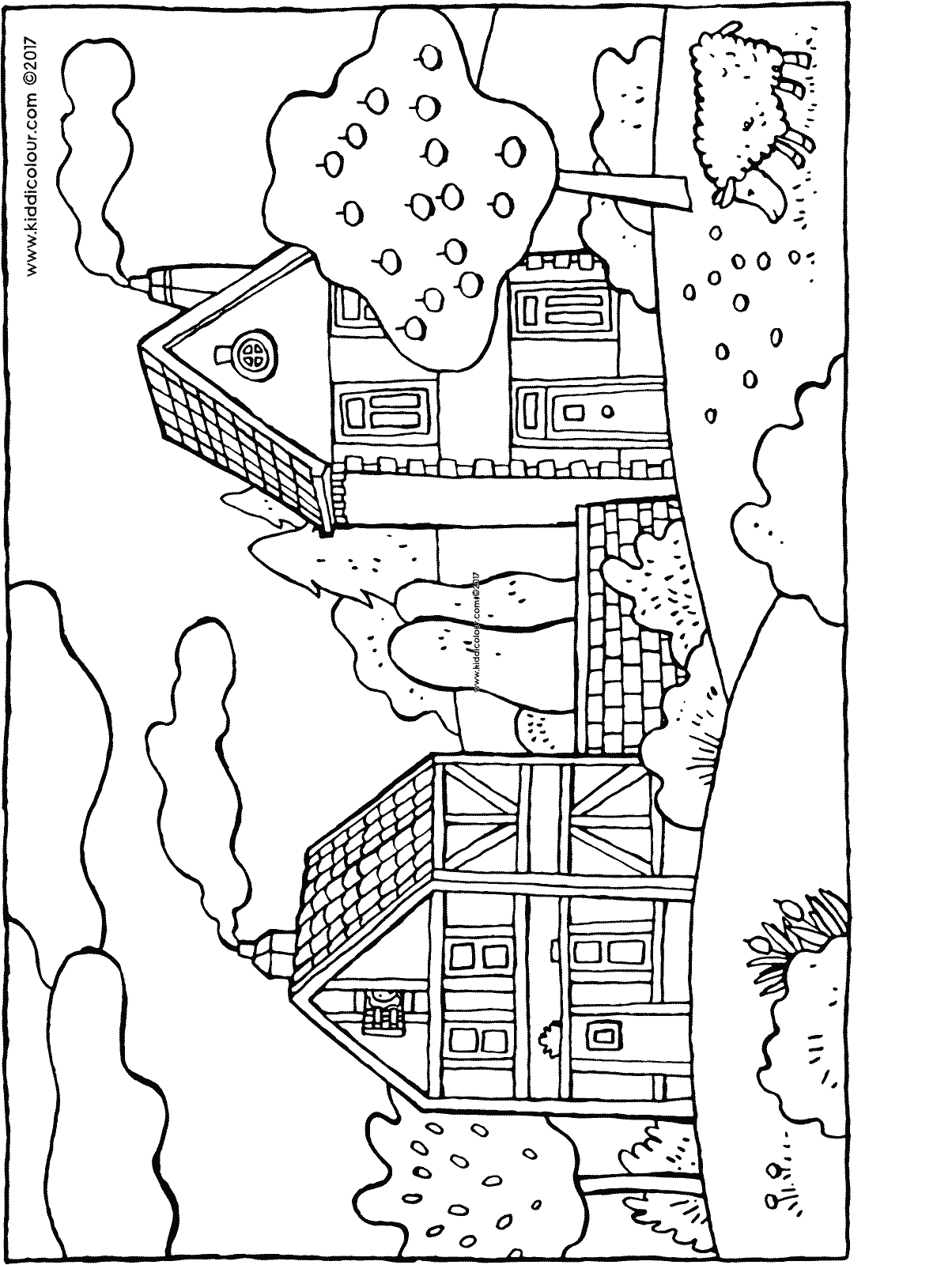 two houses and an apple tree colouring page drawing picture 01H