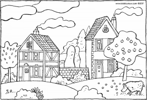 two houses and an apple tree