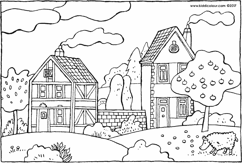 two houses and an apple tree colouring page drawing picture 01k