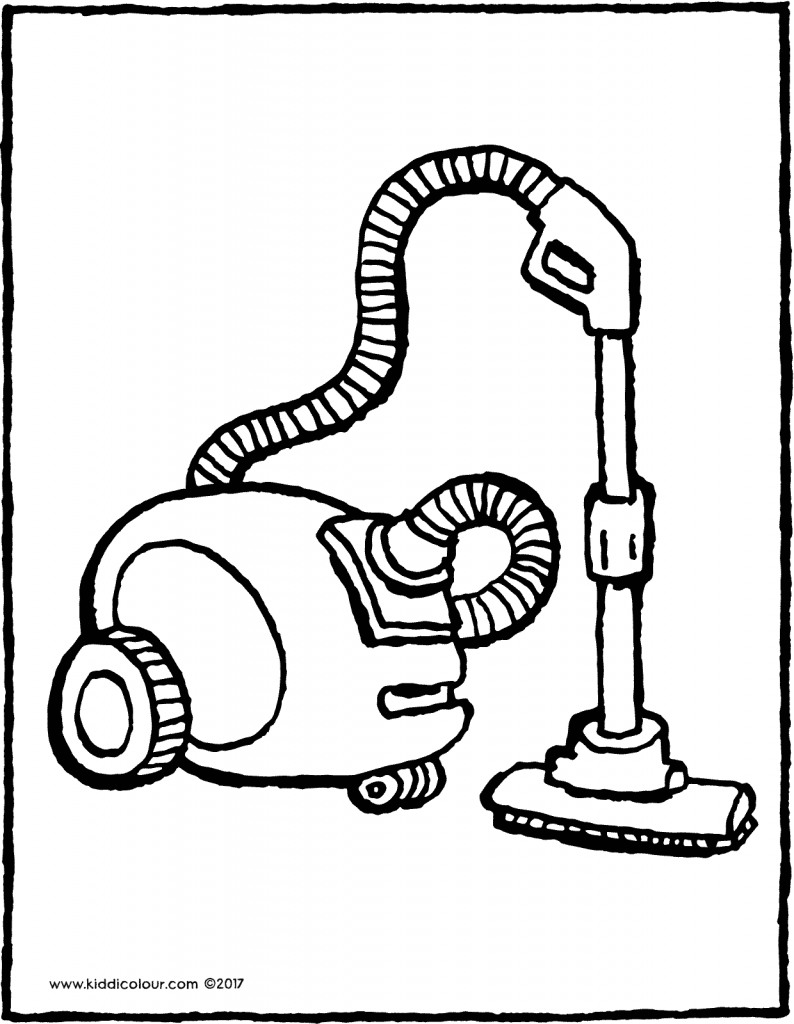 vacuum cleaner hoover colouring page drawing picture 01V