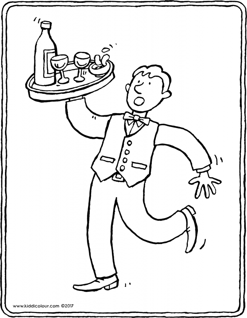 waiter colouring page drawing picture 01V