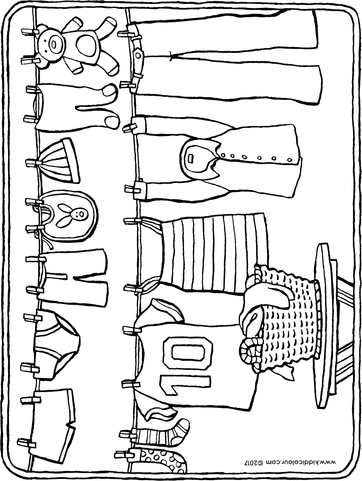 washing line colouring page drawing picture 01H