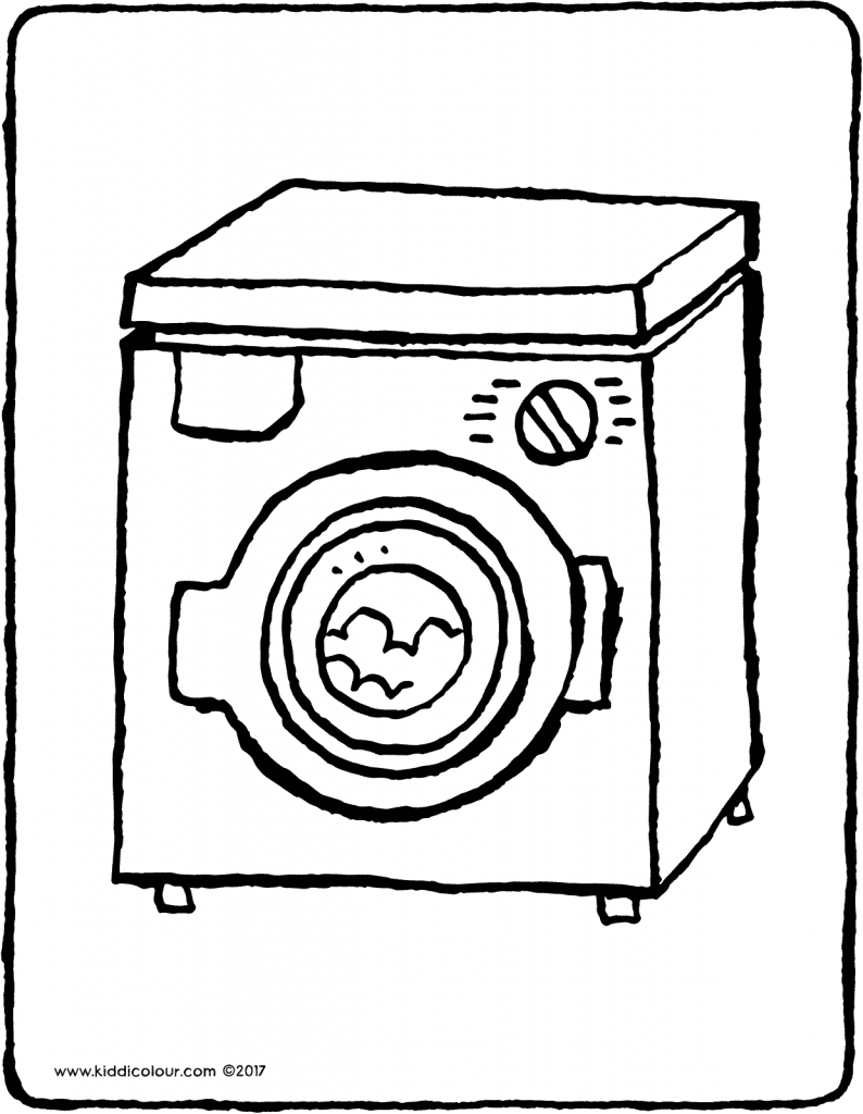 washing machine colouring page drawing picture 01V