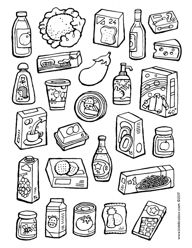 what can you buy at the shop colouring page drawing picture 01V