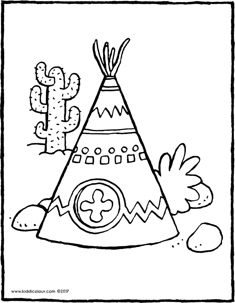 wigwam colouring page drawing picture 01V