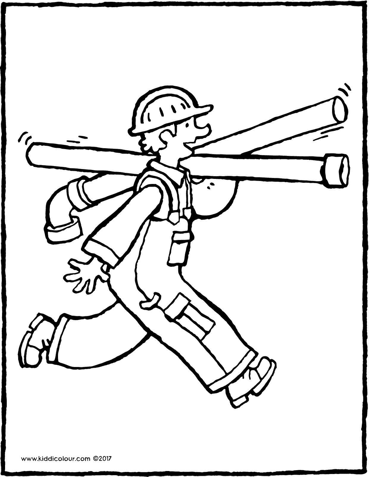 workman colouring page drawing picture 01V