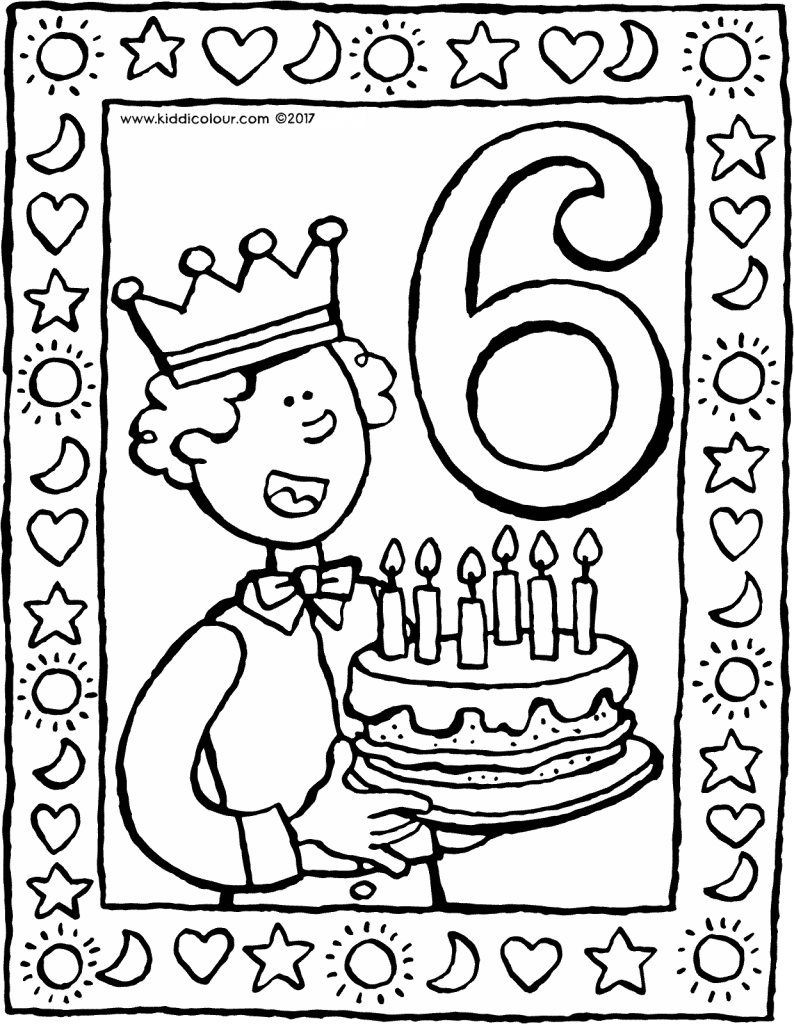 6 years old with a cake colouring page drawing picture 01V