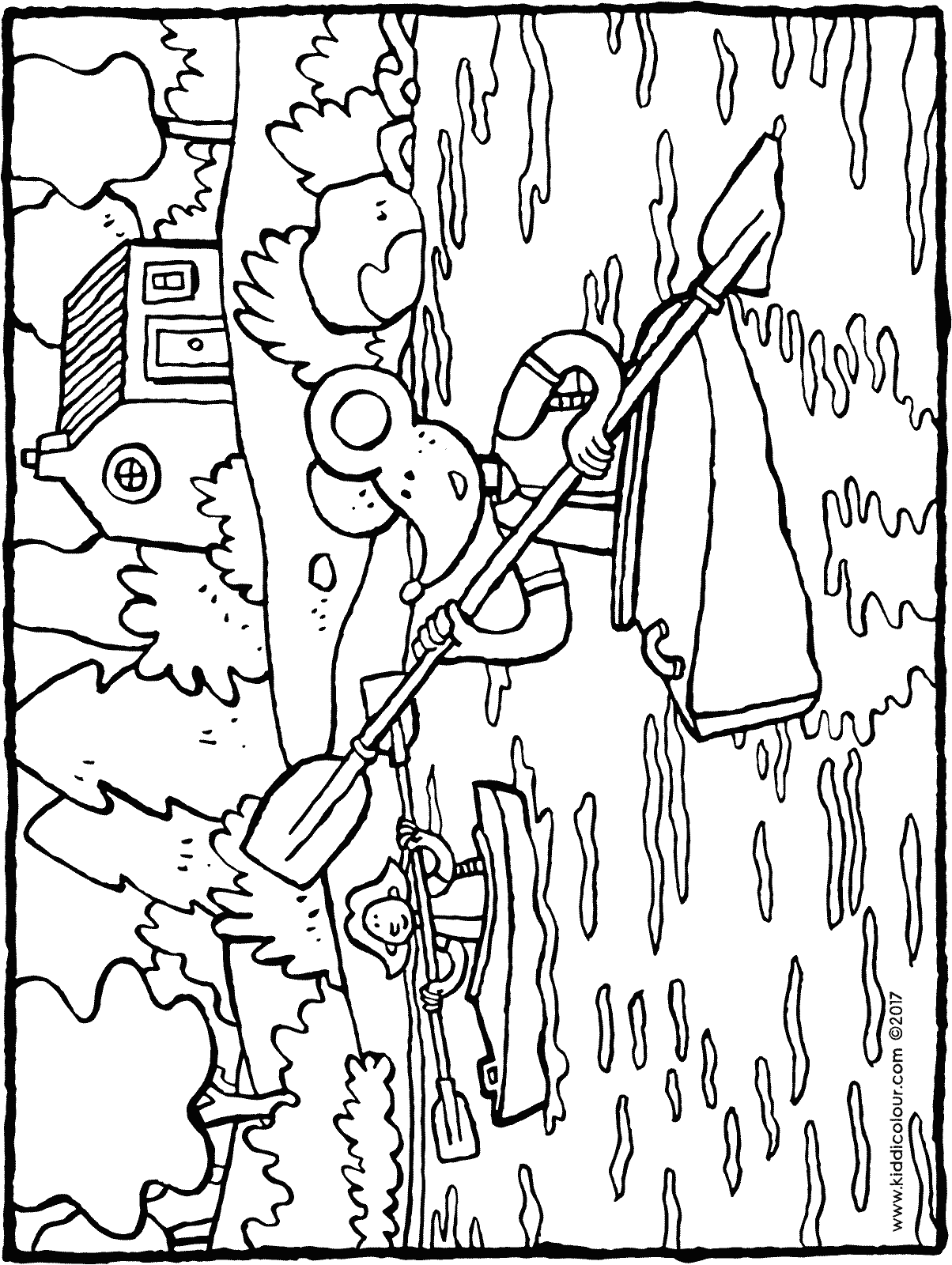 Emma and Thomas kayaking colouring page drawing picture 01H