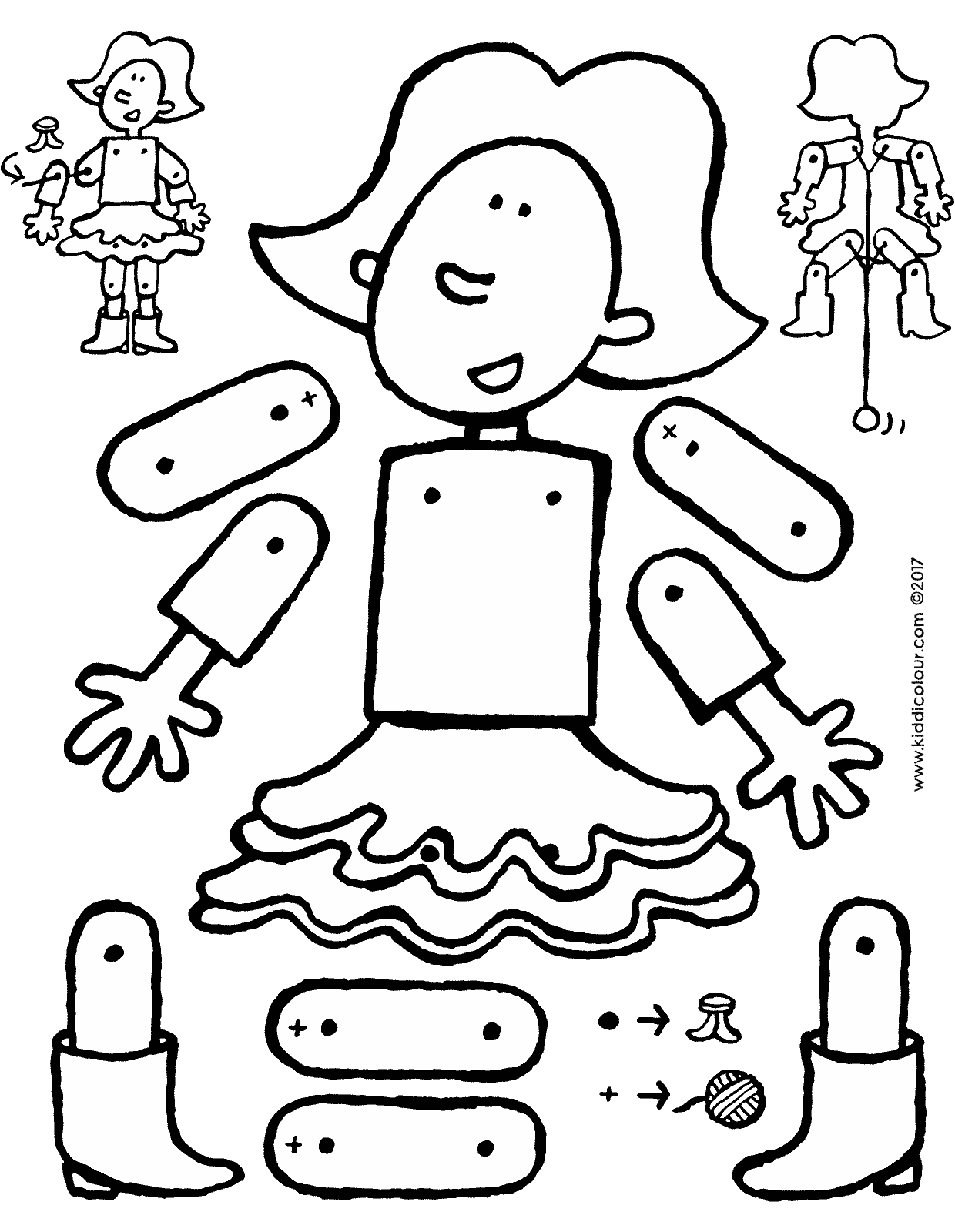 Emma as a jumping jack doll colouring page drawing picture 01V