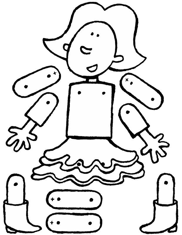 Emma as a jumping jack doll colouring page drawing picture 01k