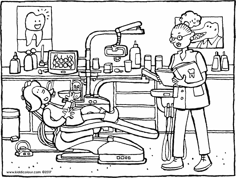 Emma at the dentist colouring page drawing picture 01k