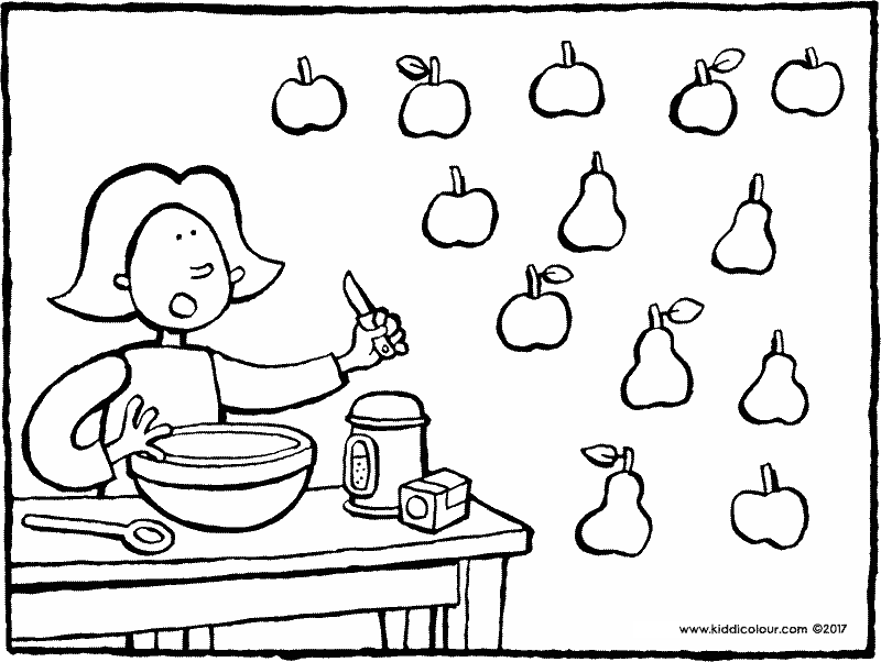 Emma baking a cake counting colouring page drawing picture 01k