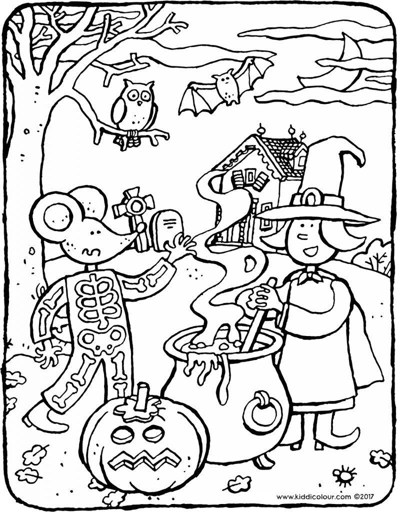 Halloween with Emma and Thomas colouring page drawing picture 01V