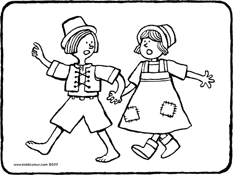 Hansel and Gretel colouring page drawing picture 01k