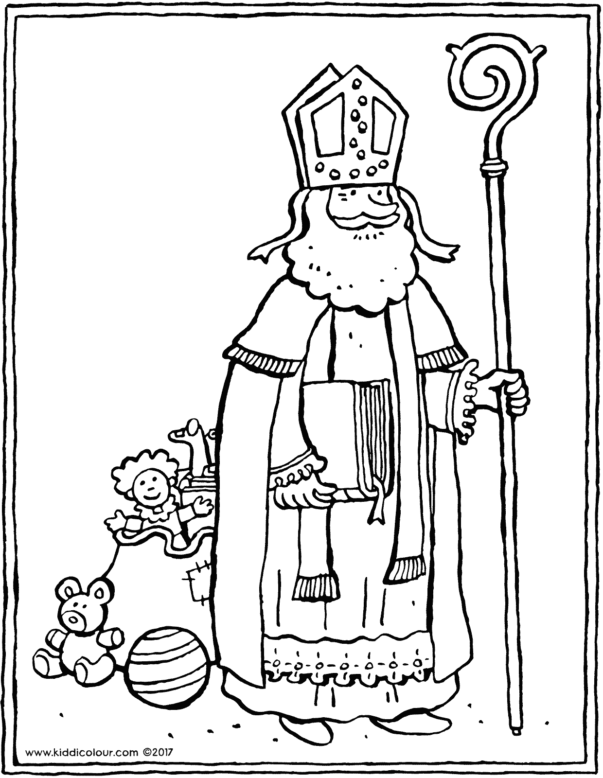 Saint Nicholas with bag of toys colouring page drawing picture 01V