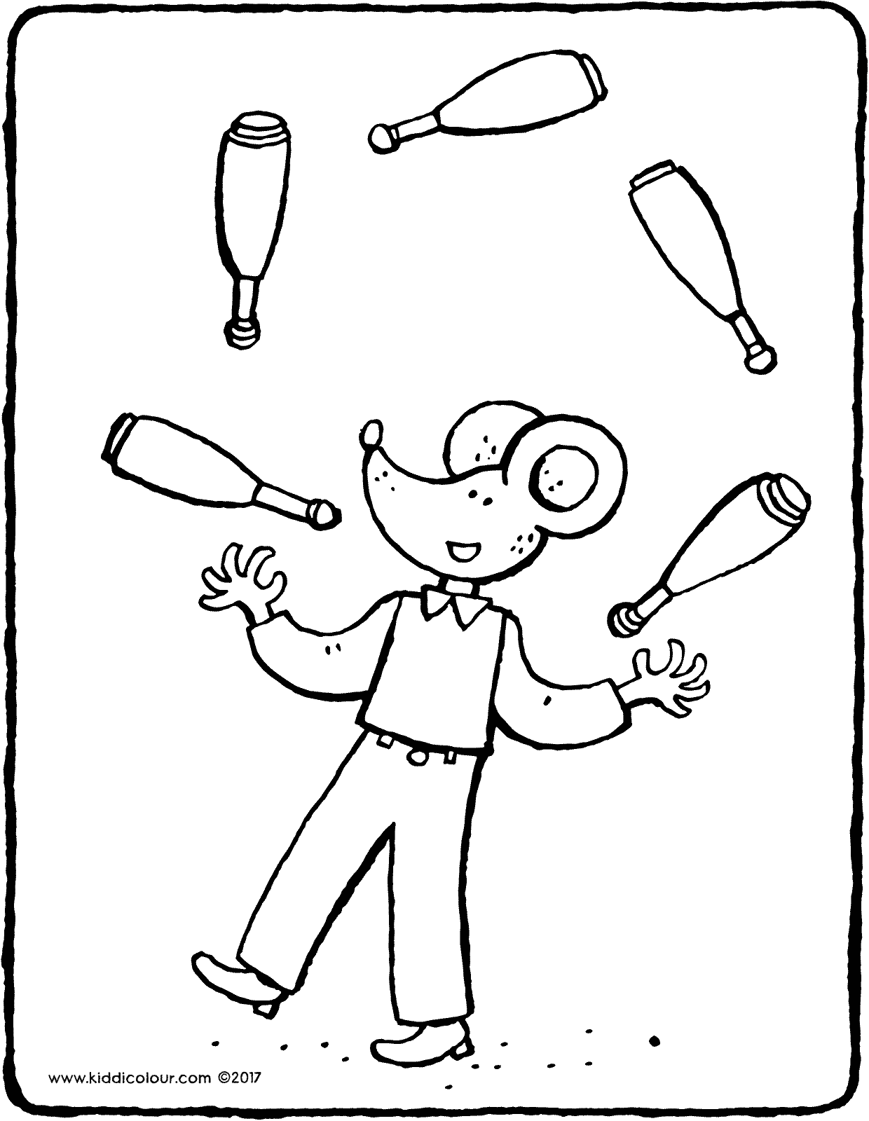 Thomas juggling clubs colouring page drawing picture 01V