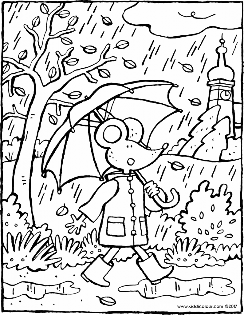 Thomas on an autumn day colouring page drawing picture 01V