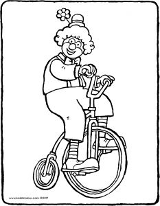 a clown on a bicycle