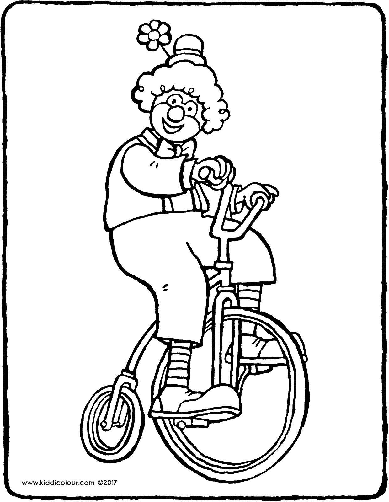 a clown on a bicycle colouring page drawing picture 01V
