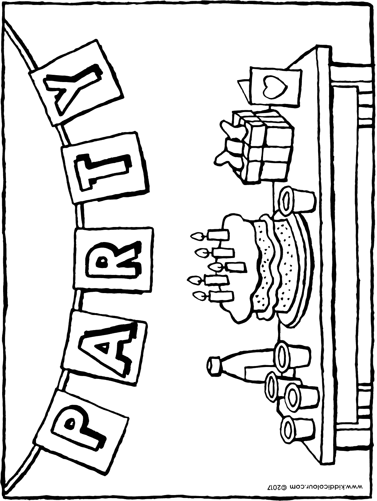 are you coming to my birthday party colouring page drawing picture 01H