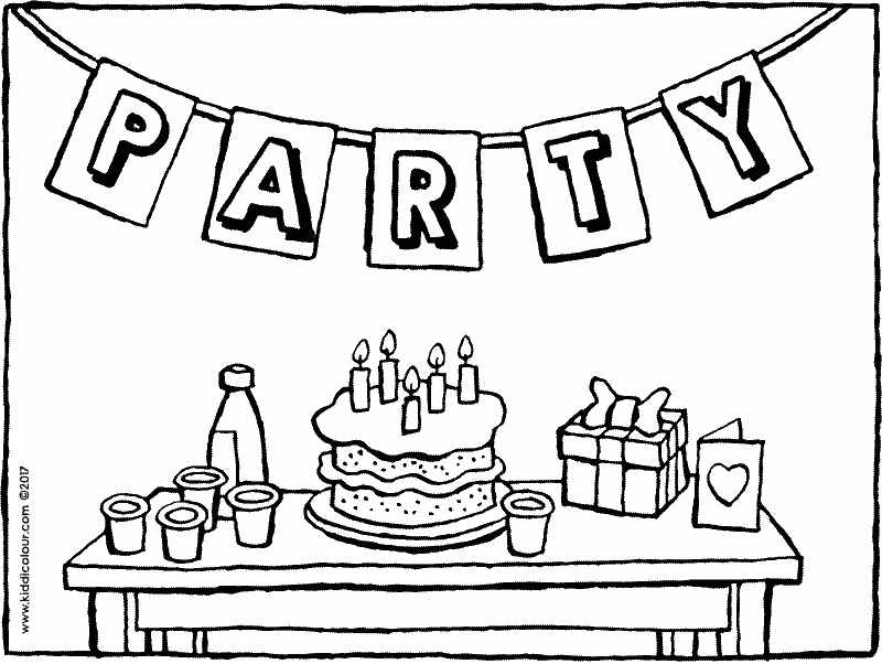 are you coming to my birthday party colouring page drawing picture 01k