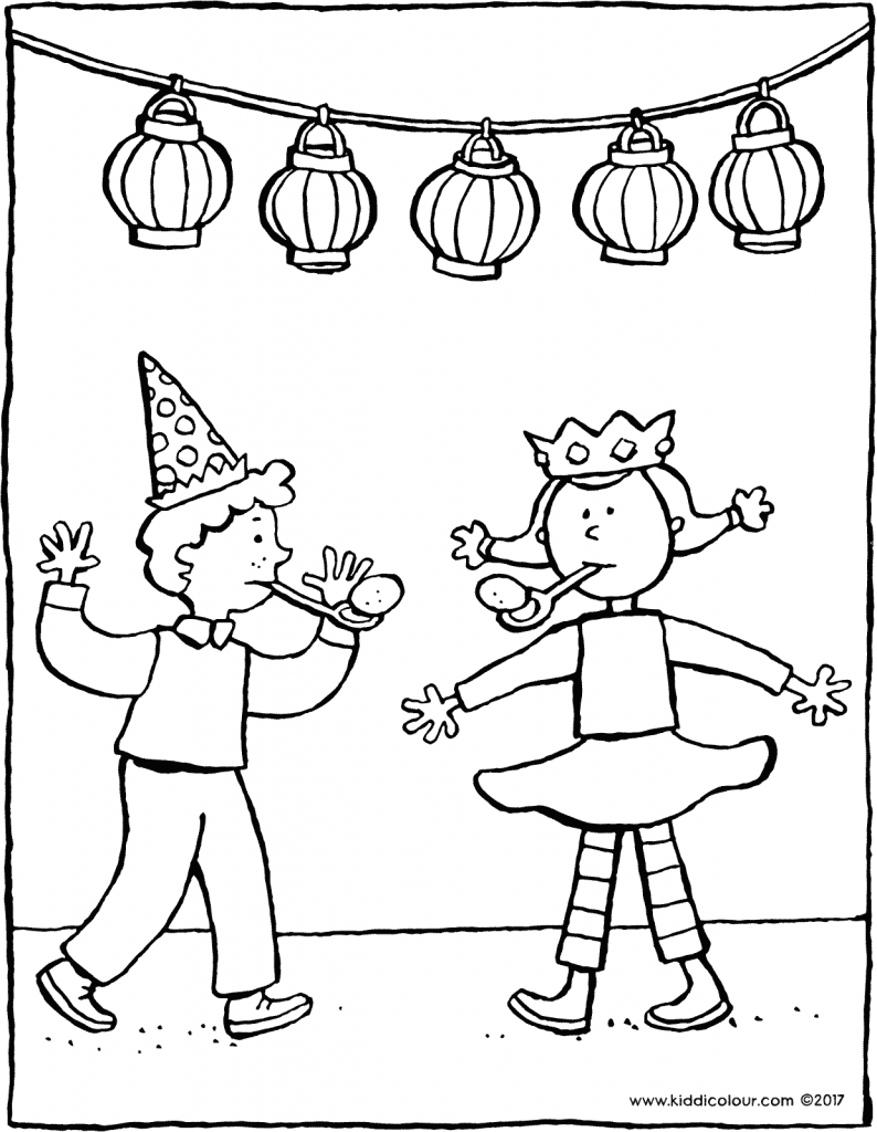 birthday party colouring page drawing picture 01V