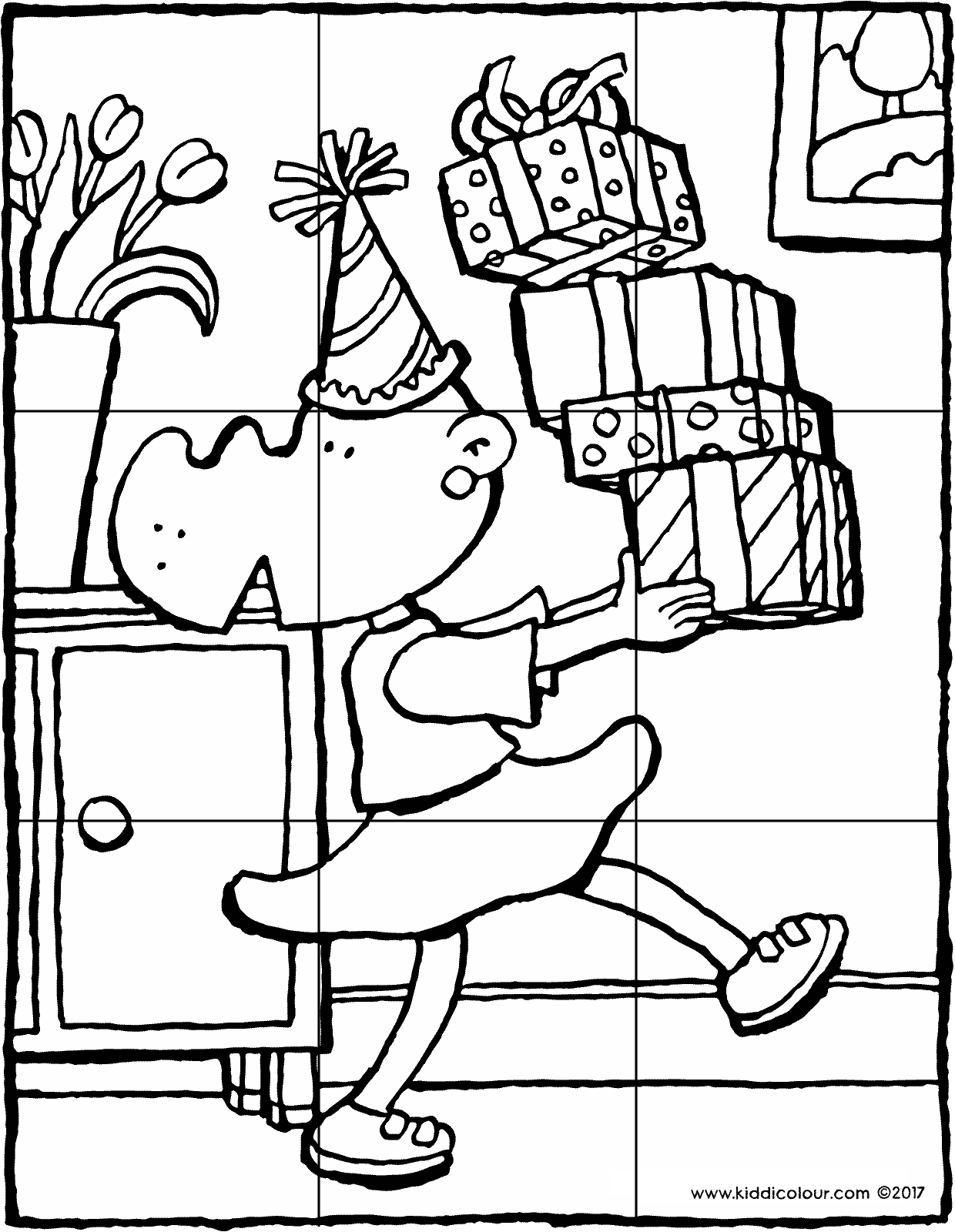 birthday with presents puzzle colouring page drawing picture 9V