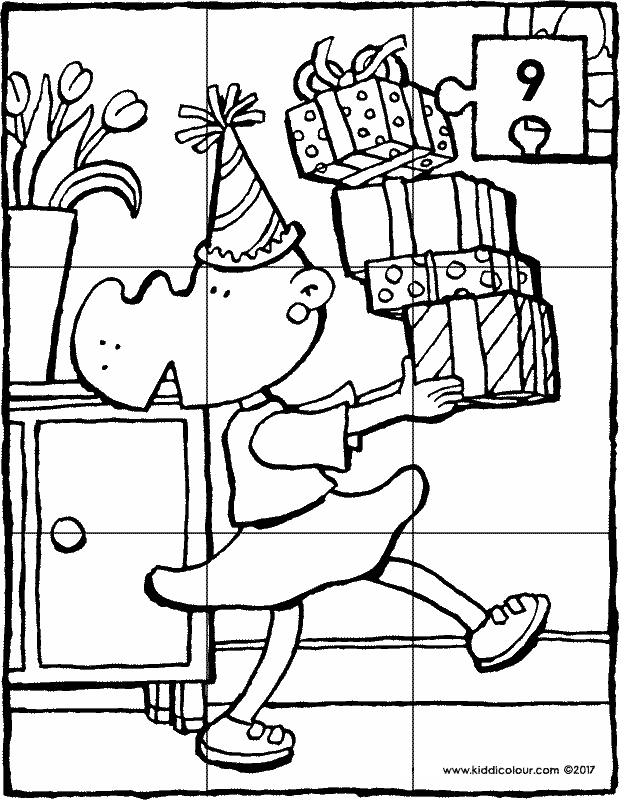 birthday with presents puzzle colouring page drawing picture 9k