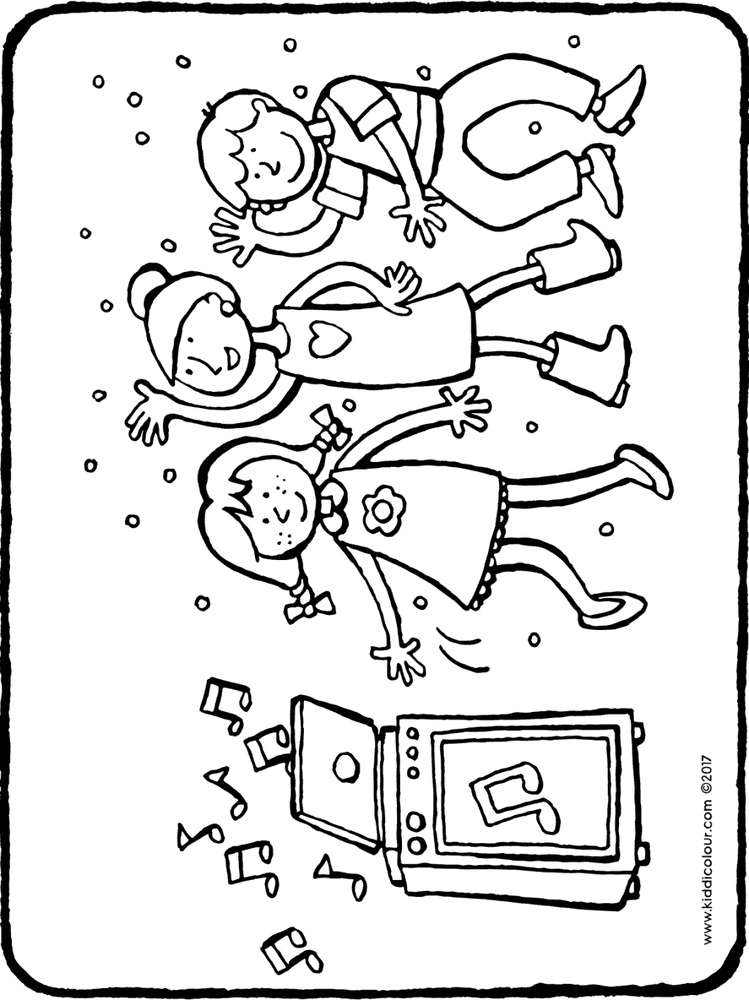 children's disco colouring page drawing picture 01H