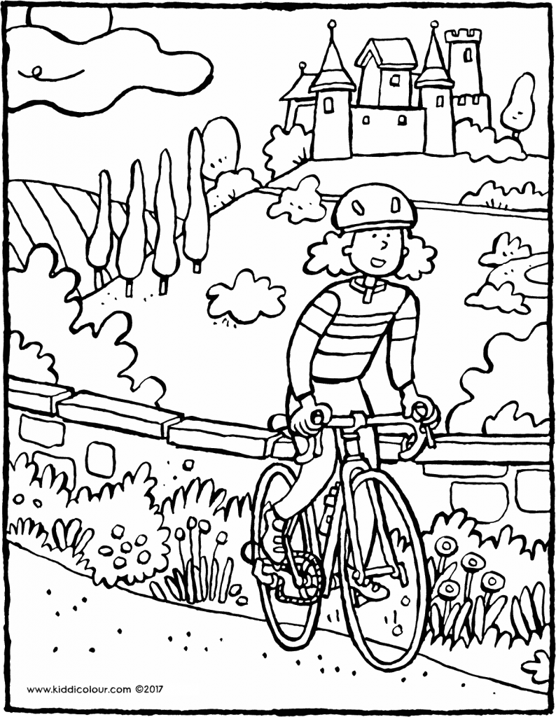 cycling is fun colouring page drawing picture 01V