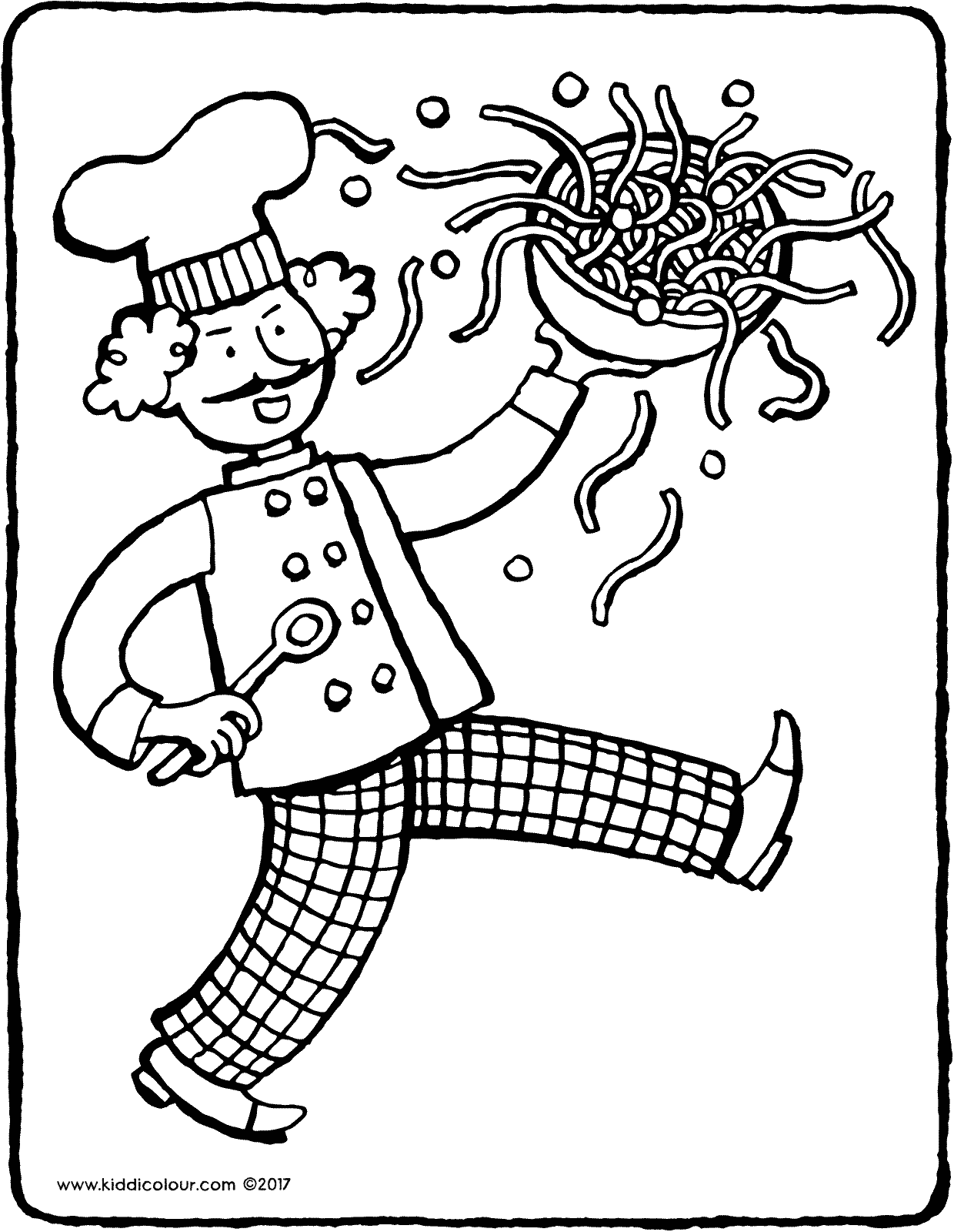dancing chef colouring page drawing picture 01V