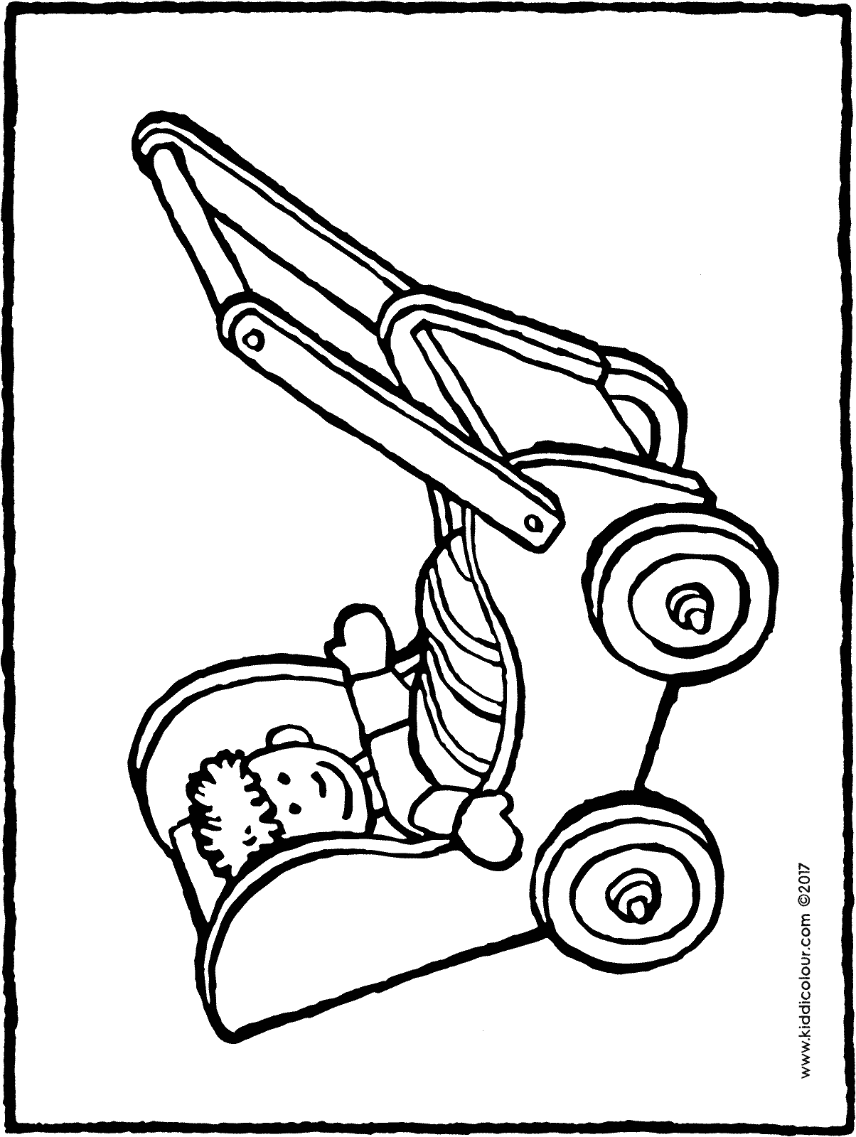 doll's pram colouring page drawing picture 01H