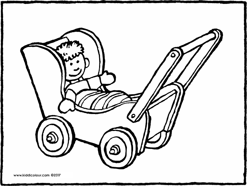 doll's pram colouring page drawing picture 01k