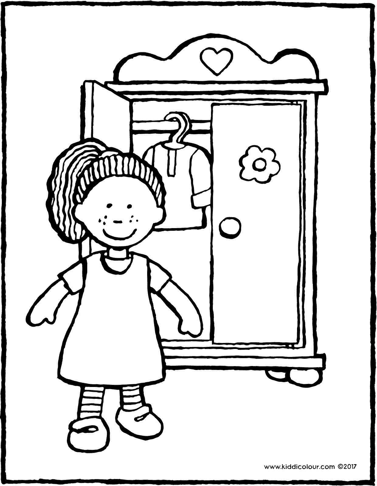 doll with wardrobe colouring page drawing picture 01V
