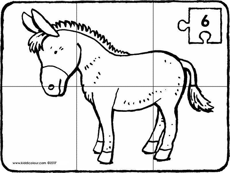 donkey puzzle colouring page drawing picture 6k