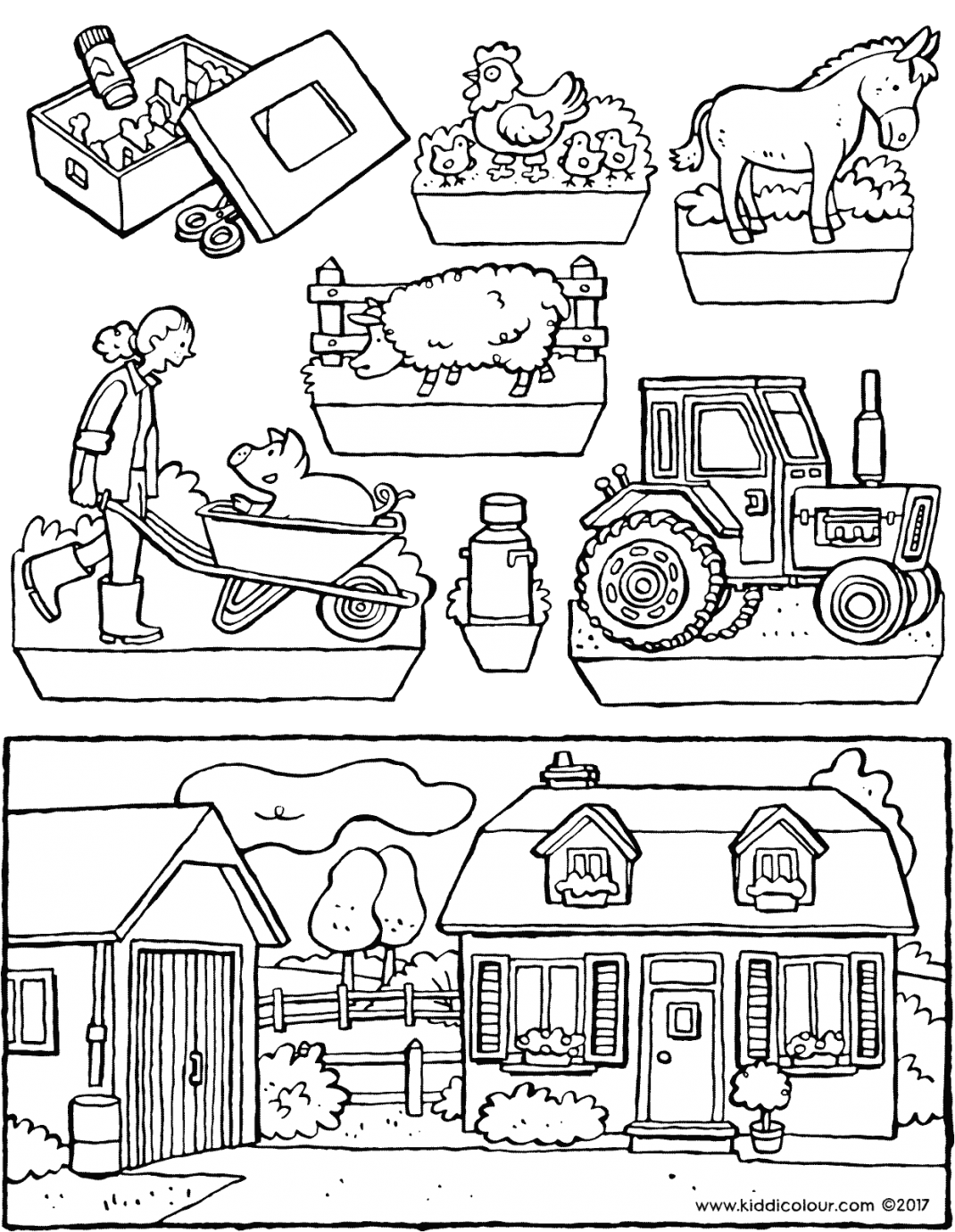 farm diorama colouring page drawing picture 01V
