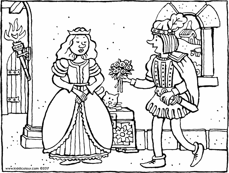 flowers for a princess colouring page drawing picture 01k