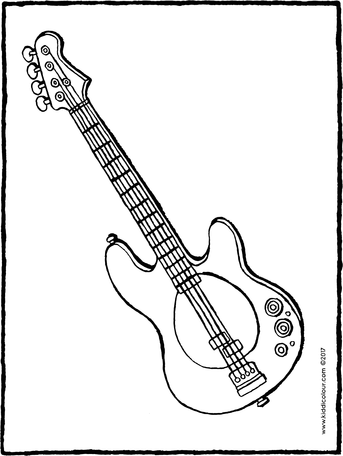 guitar colouring page drawing picture 01H
