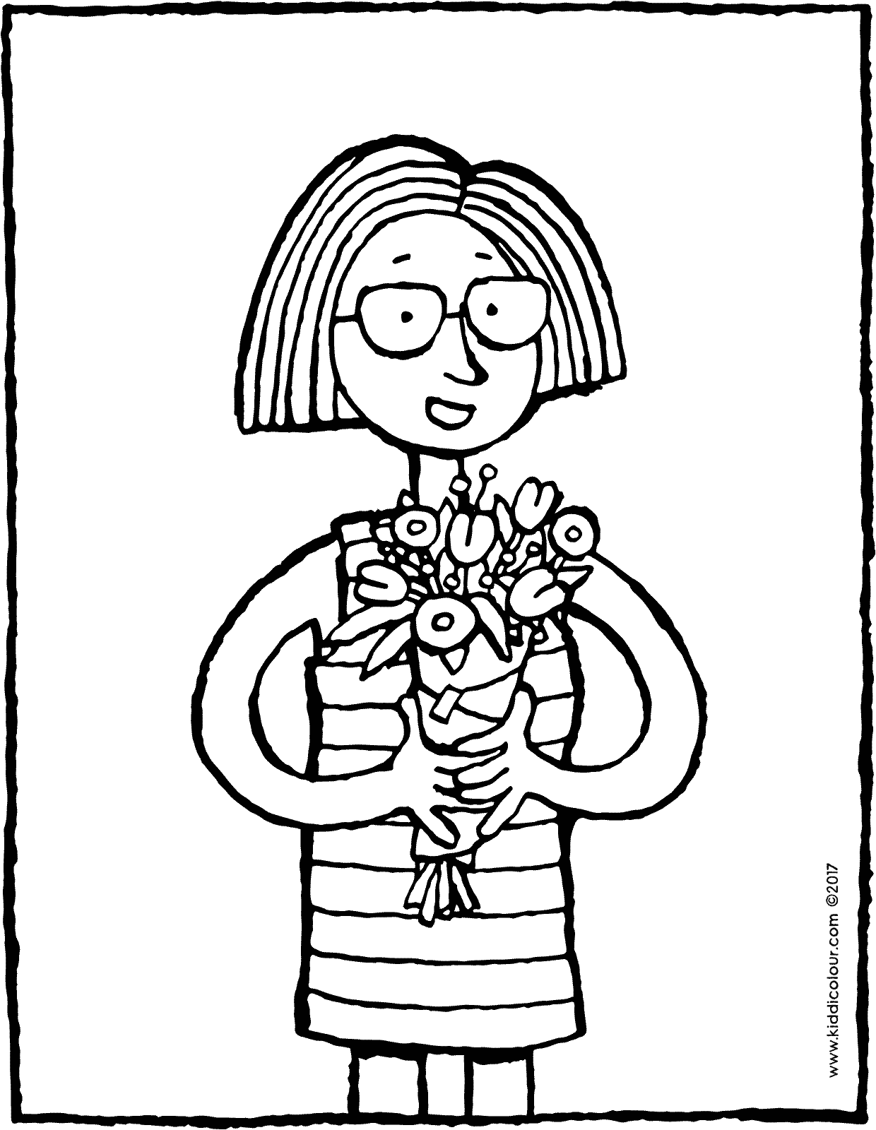 hip hip hurrah for mothers colouring page drawing picture 01V
