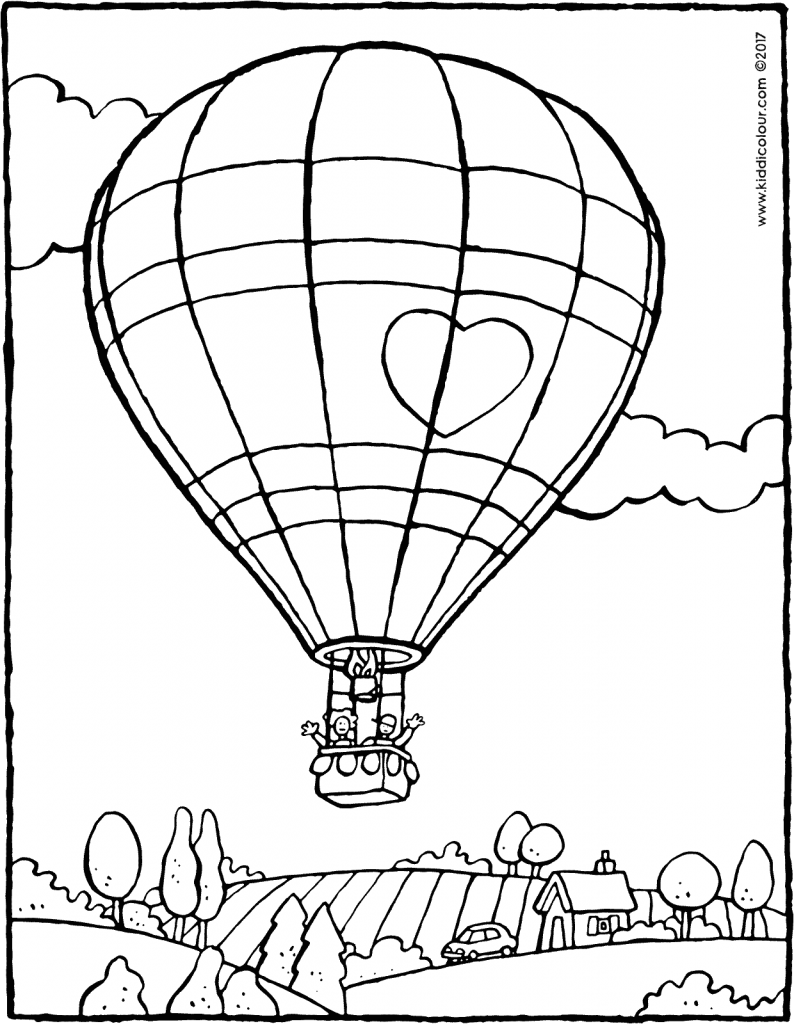 hot air balloon colouring page drawing picture 01V