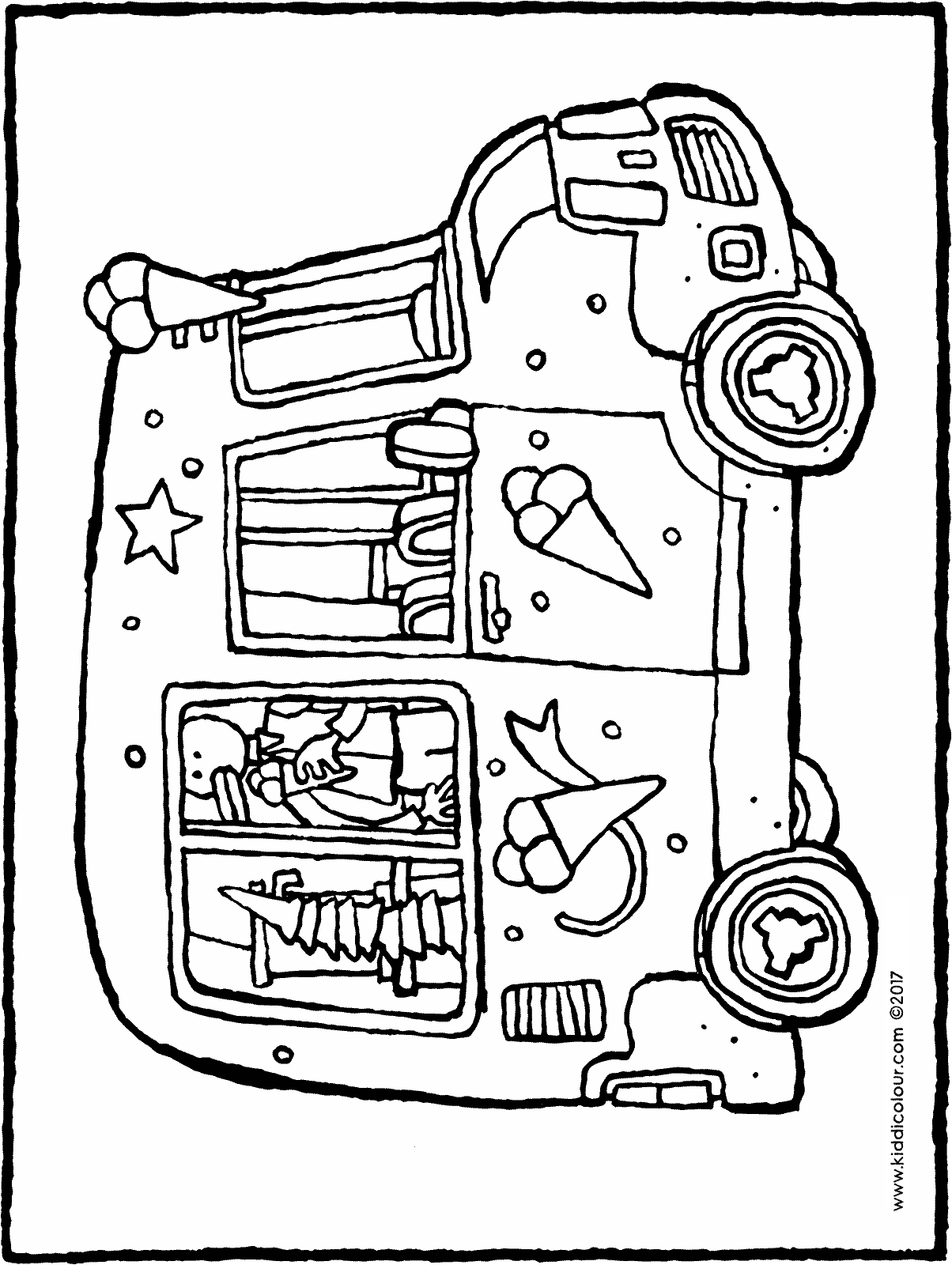 ice-cream van colouring page drawing picture 01H
