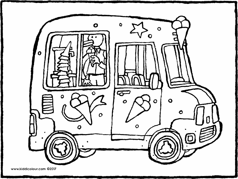 ice-cream van colouring page drawing picture 01k
