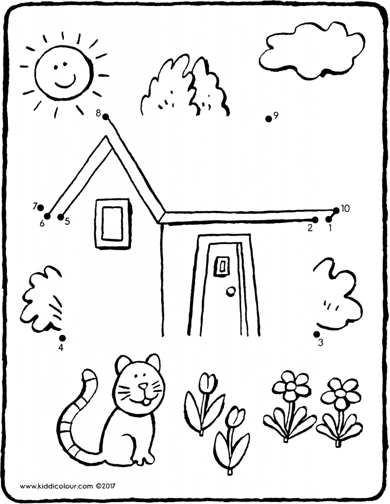 join the dots house with cat colouring page drawing picture 01V