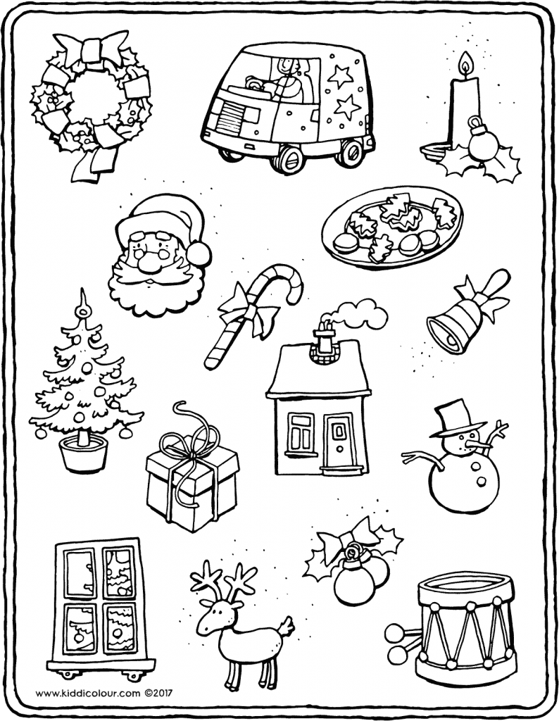little things for Christmas colouring page drawing picture 01V