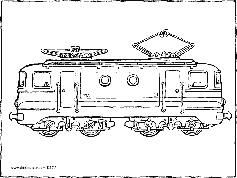 locomotive colouring page drawing picture 01k