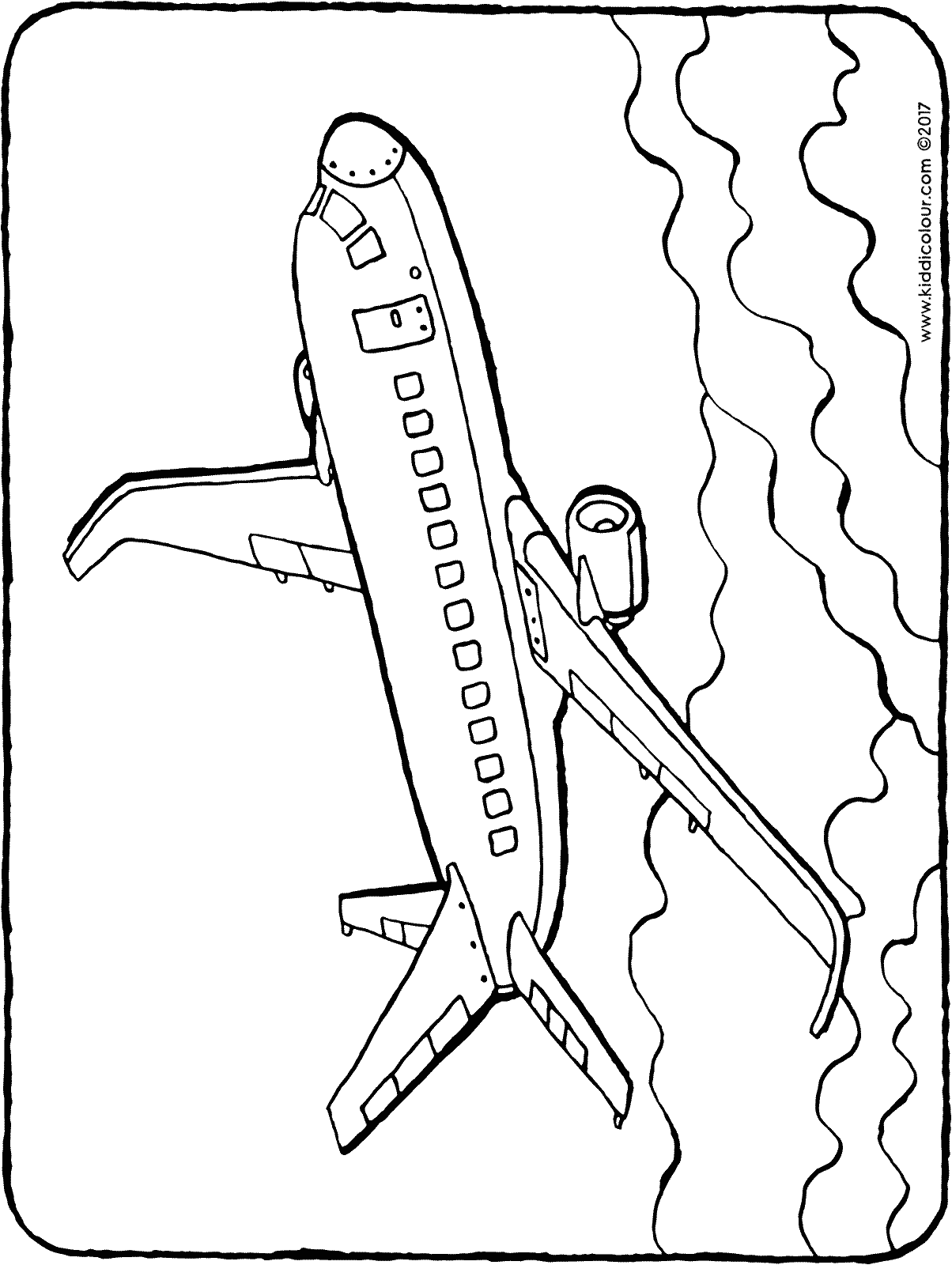 plane colouring page drawing picture 01H