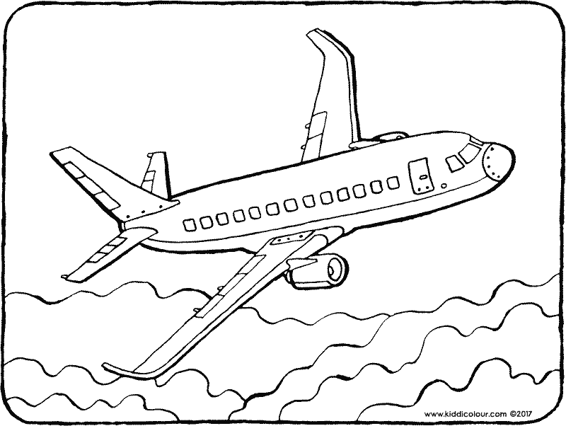 plane colouring page drawing picture 01k