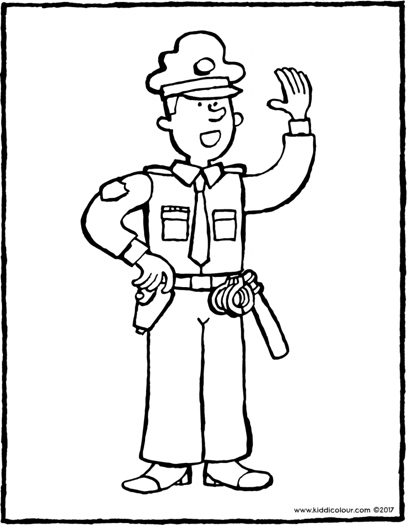 police officer colouring page drawing picture 01V
